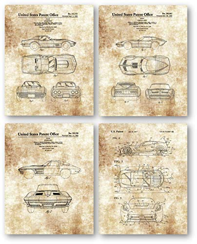 Ramini Brands Original Corvette Patent Art Drawings - Set of 4 8 x 10 Unframed Prints - Great Gift for Corvette Owners and Car Collectors (Best Gifts For Corvette Lovers)