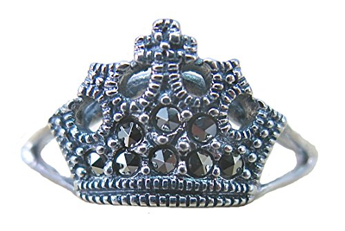 (FaithOwl Crown Marcasite Filigree Tiara 925 Sterling Silver Ring (7))