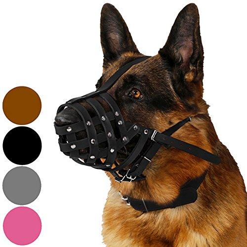 CollarDirect Dog Muzzle German Shepherd Dalmatian Doberman Setter Leather Basket Medium Large Breeds Black Brown L Black