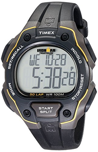 Timex Men's T5K494 Ironman Classic 50 Full-Size Black/Yellow Resin Strap Watch