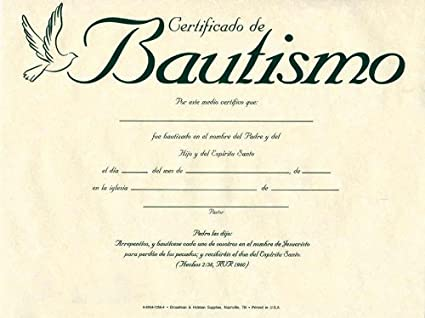 Amazon.com : Spanish - Certif-Baptism-Parchment (Pk/6) : Office Products