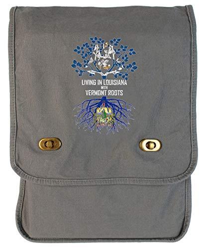 Tenacitee Living In Louisiana with Vermont Roots Smoke Grey Canvas Field Bag (Baton Burlington Rouge La)