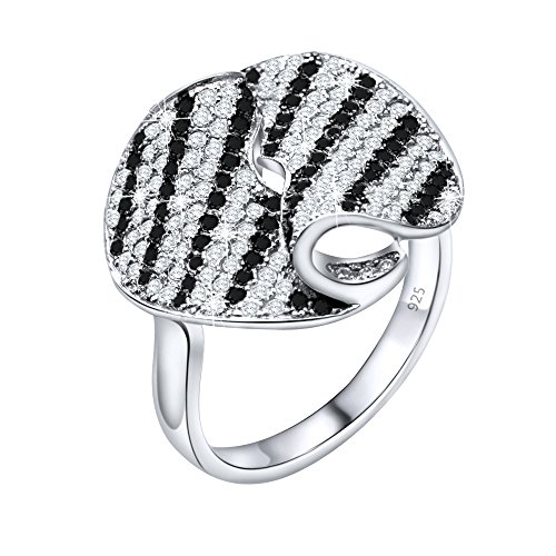 Women's Sterling Silver .925 Fancy Fold Stripe Ring with Black and White Cubic Zirconia (CZ) Stones, Platinum Plated