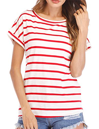 Hioinieiy Women's Striped T Shirt Red and White Summer Casual Short Sleeve Tops Crew Neck Cute Tees 3X