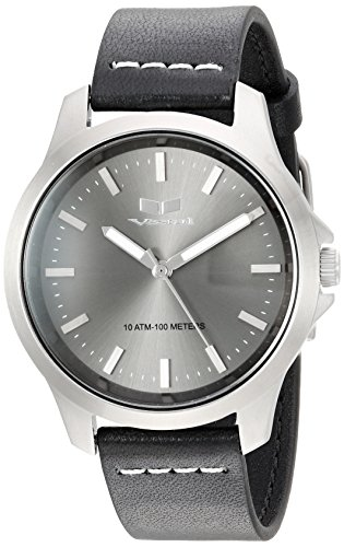Vestal Quartz Stainless Steel and Leather Casual Watch, Color:Black (Model: HEI393L16.BKWH)