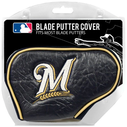 Team Golf MLB Milwaukee Brewers Golf Club Blade Putter Headcover, Fits Most Blade Putters, Scotty Cameron, Taylormade, Odyssey, Titleist, Ping, Callaway (Baseball White Milwaukee Brewers)