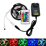 RiRiWon Led Light Strip, 16.4 Ft Flexible RGB LED Strip Light, 2835 270Leds Led Tape, Non waterproof diode ribbon with 24key IR Remote Controller and DC 12V Power Adapter
