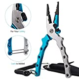 Ticoze Aluminum Fishing Pliers with Lanyard - Sheath and Braid Cutter for Saltwater and Freshwater