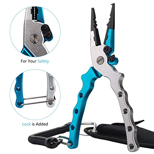 Ticoze Fishing Pliers Aluminum with Lanyard, Sheath and Braid Cutter for Saltwater...