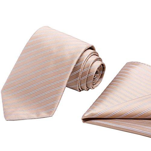 KissTies Champagne Tie Set Striped Beige Necktie + Pocket Square