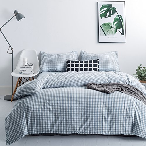 SUSYBAO 3 Pieces Duvet Cover Set 100% Natural Washed Cotton Queen Size 1 Duvet Cover 2 Pillowcases Luxury Quality Soft Comfortable Breathable Pale Blue Gingham Plaid Checkered Bedding with Zipper Ties Gingham Duvet Set