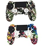 E-fire Water Transfer Printing Camouflage Silicone Cover Skin Case for Sony PS4/slim/Pro controller x 2(Colorful+White)+[2 Pair / 4 Pcs] Silicone Analog Thumb Grip Stick Cover (White) from E-fire