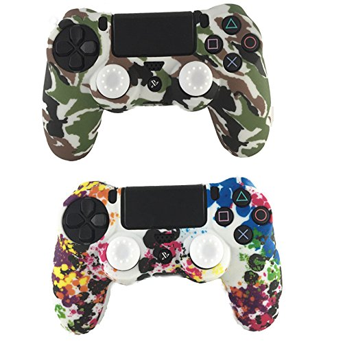 E-fire Water Transfer Printing Camouflage Silicone Cover Skin Case for Sony PS4/slim/Pro controller x 2(Colorful+White)+[2 Pair / 4 Pcs] Silicone Analog Thumb Grip Stick Cover (White)