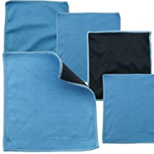 5 pieces pack of Professional Double-sided Cleaning Cloth / Microfiber Cleaning Cloth and Suede Cloth for Cell Phones, LCD TV and Laptop Screens, Camera Lenses, Tablets, Silverware, Glasses, Watches and Other Delicate Surfaces (Black Side: Microfiber & Blue Side: Suede)