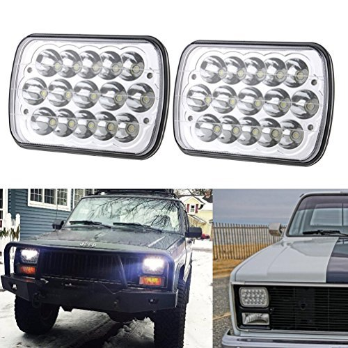 "5"" x 7"" 7x6 Inch Rectangular LED Headlights for Jeep Wrangler YJ Cherokee XJ Comanche MJ Grand Wagoneer Chevrolet GMC Dodge H5054 H6054LL 69822 6052 Trucks 4X4 Offroad Headlamps Replacement CZJUN"