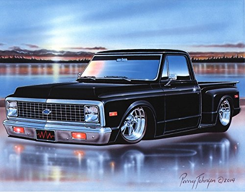 1971 72 Chevy C10 Stepside Pickup Classic Truck Art Print Black 11x14 ()