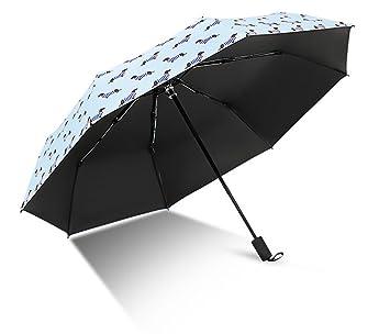 YFAN Creativa Plegable Paraguas Perro Rayas Lluvia De Moda De Doble Uso Paraguas De Vinilo Ms