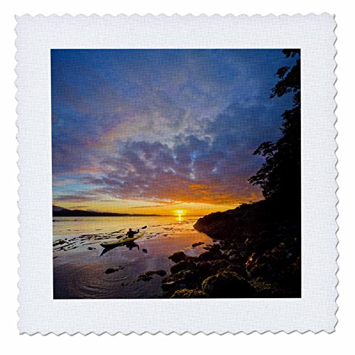 - 3dRose qs_72790_3 British Columbia, Vancouver Island, Sea Kayaking-CN02 GLU0025-Gary Luhm-Quilt Square, 8 by 8-Inch