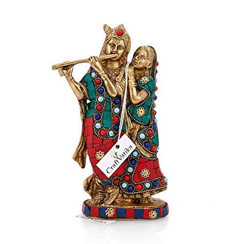 CraftVatika Brass Radha Krishna Statue Beautiful Hindu Divine Love Couple Sculpture Home Décor Gift by CraftVatika (Image #1)