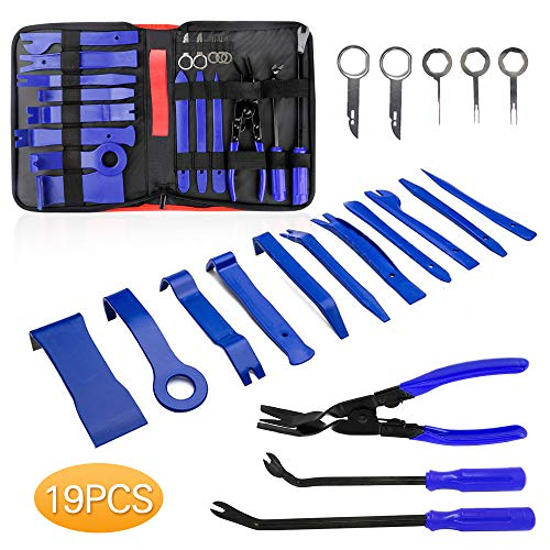 Helen Butler Auto Trim Removal Tool Kit - 19 Pcs Car Door Panel Removal Tool for Audio Dash Center Console Installation and Remover - Panel Clip Pliers, Strong Nylon Pry Tools (19PCS - Blue) - Cars Door For Panels