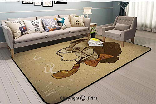 Soft Cozy Rug,Pop-Art-Stylized-Hipster-Camel-with-Pipe-and-Monocle-Vintage-Humor-Fun-Cool-Graphic,62.9x47.2inch,for Living Dining Dorm Room Bedroom Home Decorative