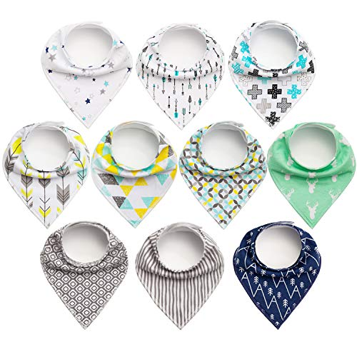 10-Pack Baby Bibs Upsimples Baby Bandana Bibs for Drooling and Teething, 100% Cotton and Super Absorbent Drool Bibs for Baby Boys, Baby Shower Gift Set