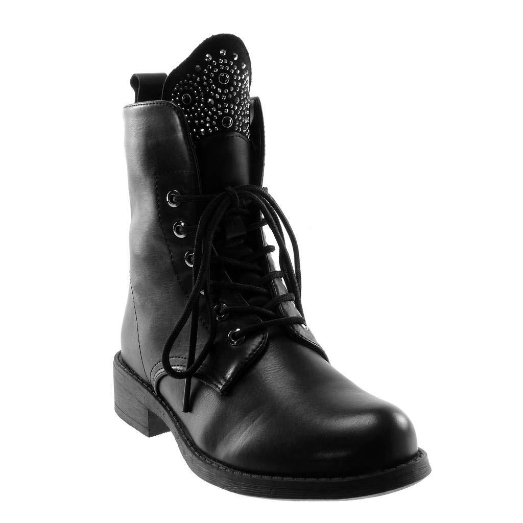 Angkorly - Damen Schuhe Stiefeletten - Combat Stiefel - Biker - bi-Material - Strass Blockabsatz 3.5 cm