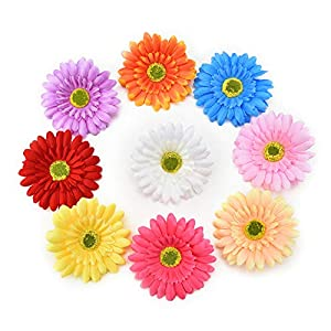 Fake flower heads in bulk wholesale for Crafts Silk Sunflower Rose Flowers Head Artificial Flowers Wedding Home Party Decoration & Wedding Car Corsage Decoration 15PCS 9.5cm (Colorful) 19