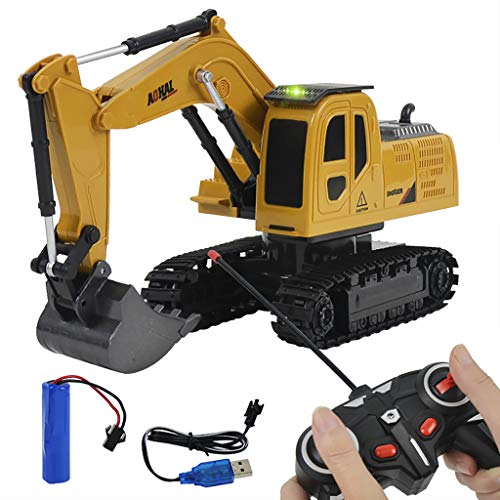 Remote Control Construction Car Truck Toy, Electric RC Tractor Excavator Dump Truck Forklift RC Truck Toys with Rechargeable Battery 2.4Ghz Radio Control for 2-9 Year Old Kids (Excavator#1)