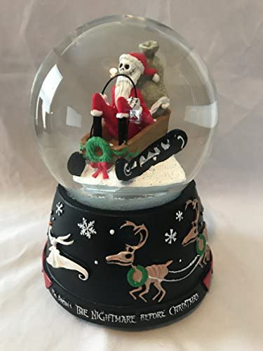 The Nightmare Before Christmas Jack Skellington Santas Sleigh Musical SnoMotion Waterglobe