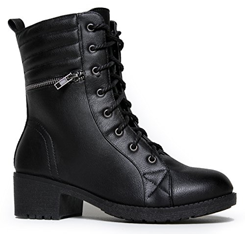 MarBel Moto Lace Up Combat Bootie Ð WomenÕs Pull On Casual Military Ankle Boot