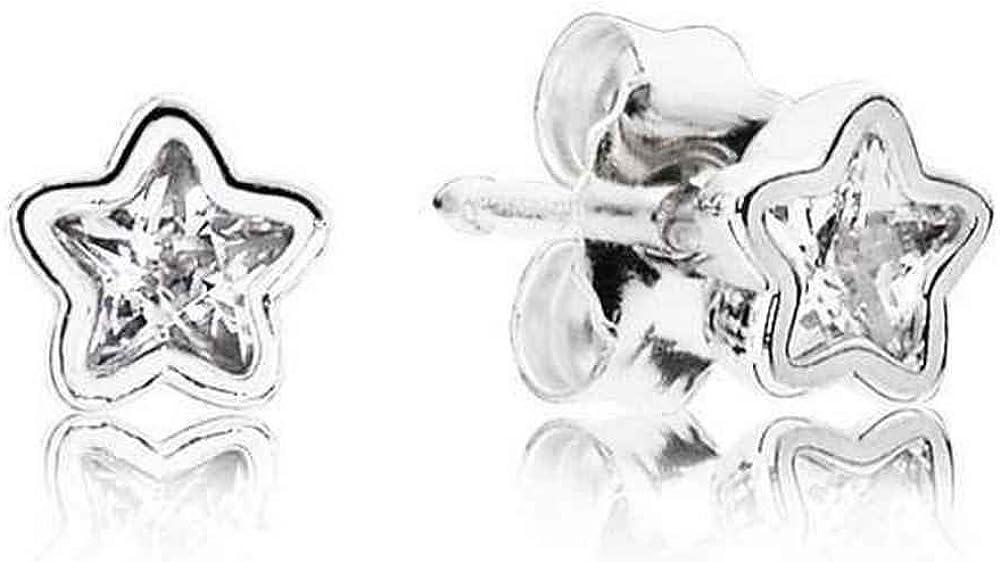 PendientesBotón Pandora 290597CZ Mujer Plata Brillo Estelar Circonitas