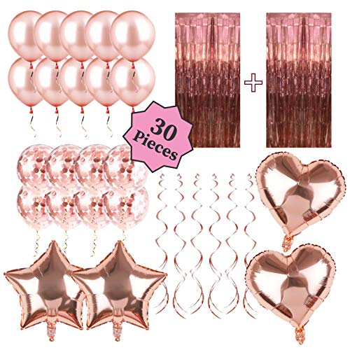 Rose Gold Party Decorations - Rose Gold Christmas Decorations Set: Rose Gold Confetti Balloons, Tinsel Foil Fringe Curtains, Rose Gold Heart and Star Shaped 18 Inch Foil Balloons, Perfect for Bridal S