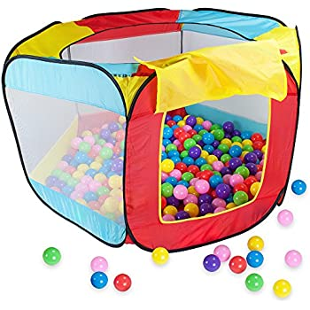 Amazon Com 100 Pit Ball Play Tent Popup Hexagon Mesh Kids