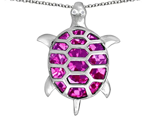 Star K Sterling Silver Good Luck Turtle Pendant Necklace with Oval Stone