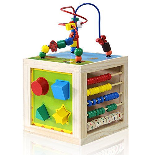 Wooden Activity Cube Bead Maze - NaXY 5 In 1 Learning Activity Center Play Cube Toys for Kids and Toddlers,Educational (1 Learning Activity Cube)