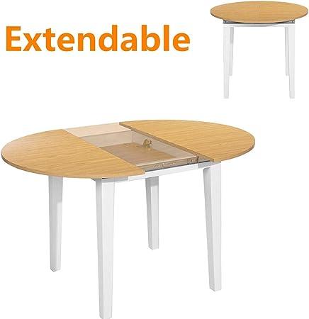 HOMYCASA Mesa de comedor redonda extensible con diseño de hojas de mariposa, patas gruesas, estable, mesa de cocina moderna de madera, 90 x 90 x 120 x 75 cm: Amazon.es: Hogar