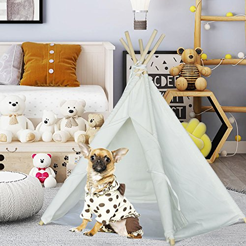 Pet teepee Tent for Dogs Puppy Cat Bed Portable White Canvas