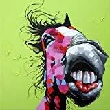 Muzagroo Art Grinning Donkey Oil Painting Canvas Art for Living Room Stretched (24x24inch, Donkey 2)
