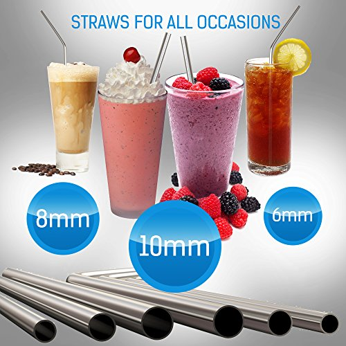 Reusable Metal Stainless Steel Straws – Drinking Curved Straight Long Reuseable Dishwasher Safe For 30 oz Large Tumbler Drinks Plastic Free Silver Accessories