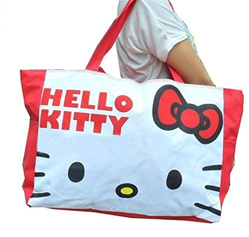 Hello Kitty Large Capacity Zipper Canvas Bag Canvas Single-shoulder Bag (red)