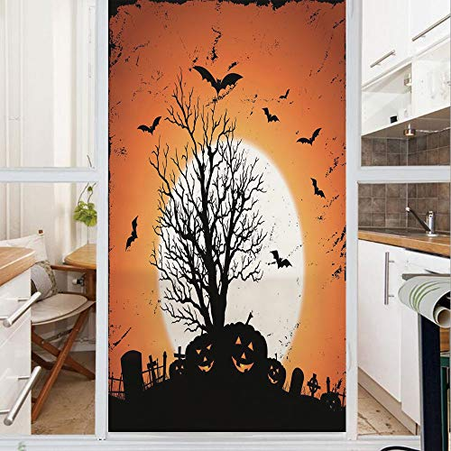 Decorative Window Film,No Glue Frosted Privacy Film,Stained Glass Door Film,Grunge Halloween Image with Eerie Atmosphere Graveyard Bats Pumpkins,for Home & Office,23.6In. by 78.7In Orange Black]()