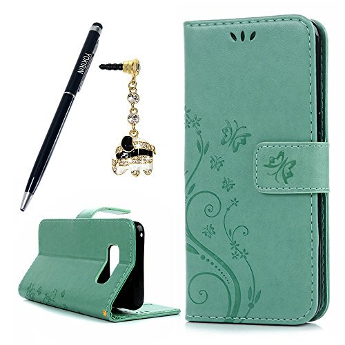 Galaxy S8 Case, YOKIRIN Embossed Floral Butterfly Premium PU Leather 2-in-1 Protective [Folio Flip Wallet] Case with Credit Card Holder/Slots and Wris…