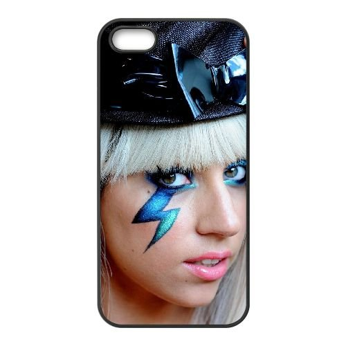 Lady Gaga coque iPhone 5 5S cellulaire cas coque de téléphone cas téléphone cellulaire noir couvercle EOKXLLNCD25404