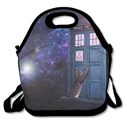 Lunch Tote Bag, Byo Lunch Bags, Freezable Fresh Lunch Bag For Kids Teens, Cute Cat In Space