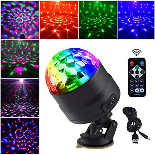 Allness Group DJ Disco Light Disco Ball LED RGB Party Lights Sound Activated Strobe Light 7 Color with Remote and USB plug in for Kids Parties Car Room Birthday Dance Outdoor Club Pub Xmas