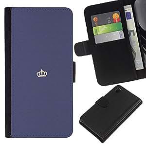 EJOY---La carpeta del tirón la caja de cuero de alta calidad de la PU Caso protector / Sony Xperia Z3 D6603 / --corona del rey minimalista blanco púrpura