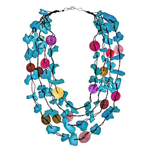 Vintage Wood Chunky (AeraVida Colorful Strands Coco Palm Wood Nuggets Shell Embellished Strand Necklace)