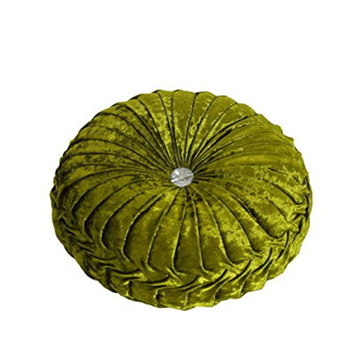TMJJ Round Solid Color Velvet Cushion Couch Pumpkin Throw Pillow Home Decorative Pillows,13.39 x 13.39-Inches,Green by TMJJ Home