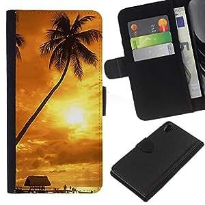 Ihec-Tech / Flip PU Cuero Cover Case para Sony Xperia Z2 D6502 D6503 D6543 L50t - Sunset coconut Beautiful Nature 122